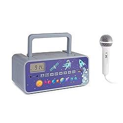 auna Kidsbox Space CD Boombox, CD-Player, Handmikrofon, Bluetooth, UKW-Radiotuner, USB-Port, LED-Display, Strom/Batteriebetrieb, 3,5 mm Klinkenanschluss für Kopfhörer, grau