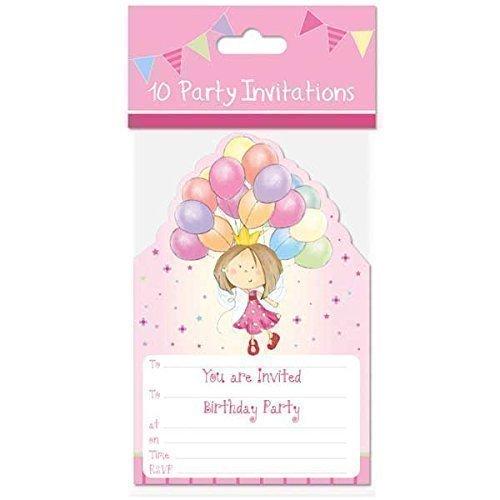 10 x Invitations et Enveloppes Filles Rose Motif Fée Princesse