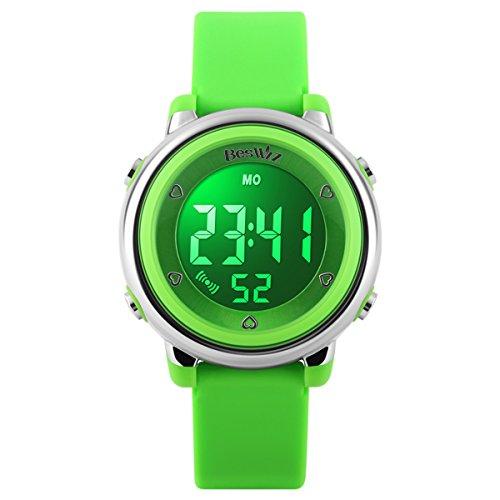 Beswlz Kinder Sport LED Hintergrundbeleuchtung Digital Mädchen Uhren Alarm 50 m Wasserdicht Armbanduhr Kinder Uhr Grün