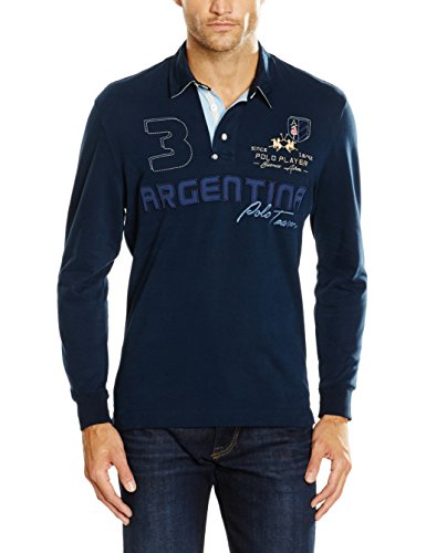 La Martina Man Polo L/S Heavy Jersey IMP605, Maglietta Da Uomo, 07017 Navy, Medium
