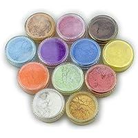 ZREAL Polvo de pigmento de mica de 12 colores para tinte de resina, colorante,