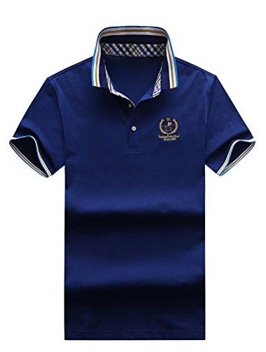 Mallimoda uomo camicia di polo estate manica corta slim fit shirt marina militare m
