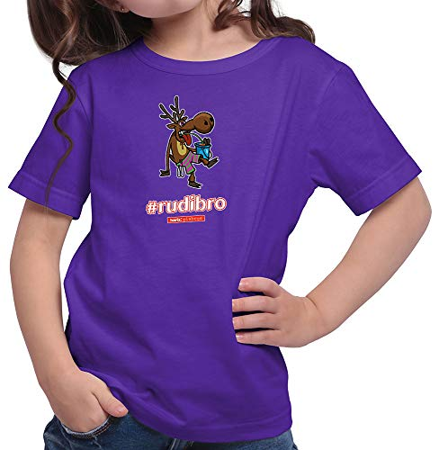 HARIZ  Mädchen T-Shirt Pixbros Rudibro Xmas Weihnachten Kinder Lustig Winter Plus Geschenkkarte Lila 152/12-13 Jahre
