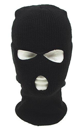 YIGO Sturmhaube Balaclava Skimaske 3 Loch Maske, schwarz, 1 Stück
