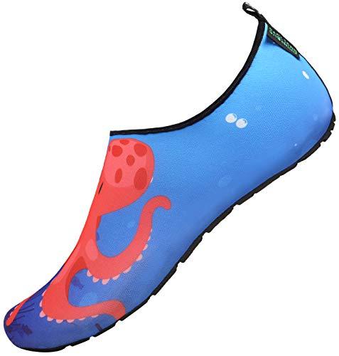 SAGUARO Scarpe da Spiaggia Bambini Ragazze Ragazzi Scarpette Acqua Immersione Scoglio Water Shoes per Sportive Acquatici Nuotata Surf Piscina Canottaggio Snorkel Mare, Blue 30/31