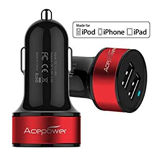 [Certificato da Apple] ACEPower® Doppio USB Caricabatterie da auto (17W/3.4A - 2 Porte) per iPad Air, iPad, iPad Mini, iPhone 6, 6 Plus, 5S, 5, 4S; Samsung Galaxy phone, Galaxy Tab; LG G3; HTC ONE; Motorola, Speaker Bluetooth, GPS, Batterie esterne e altri dispositivi USB (Black w. Red Band)