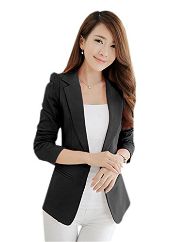 JOTHIN Damen Herbst Business Blazer Weiß Eleganter Grau Sweatblazer Schwarz Kurzjacke Plain Langarm Knopf Blazer (S, Schwarz) (Lammfell-ein-knopf-blazer)