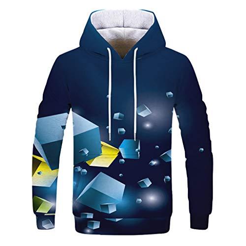 BESSKY Sweatshirt, Pullover Capuche avec Impression 3D Décontractée Automne Hiver Couple Printemps