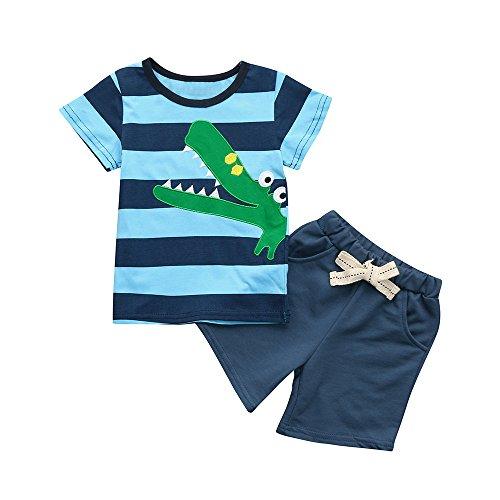Sunenjoy Bébé Garçon 2 Pcs Ensemble T-Shirt Shorts Manches Haut Crocodile Bande Dessinée Broderie + Cordon Shorts Pantalon Court D'été Mignon Tenues Coton Vêtements 1-5 Ans (2 Ans, Bleu)