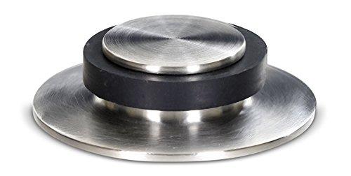 stoppwerk Bodentürstopper Rund und Flach - Türstopper Edelstahl mit Gummipuffer inkl. Befestigungsmaterial zum Schrauben am Boden - Ø5,3cm H:1,4cm
