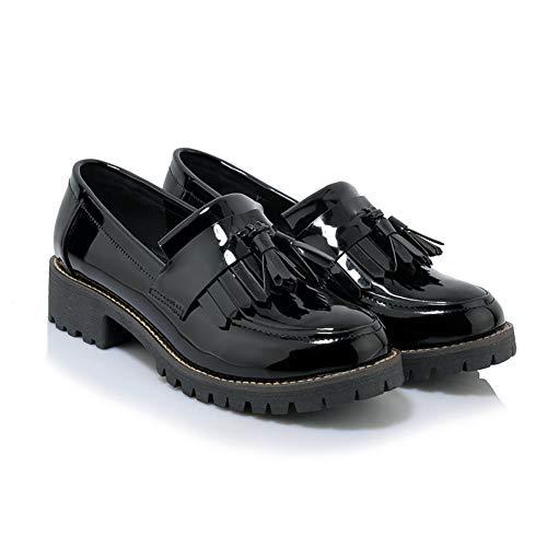 Las Mujeres Charol Zapatos Solos Zapatos Derby Flecos