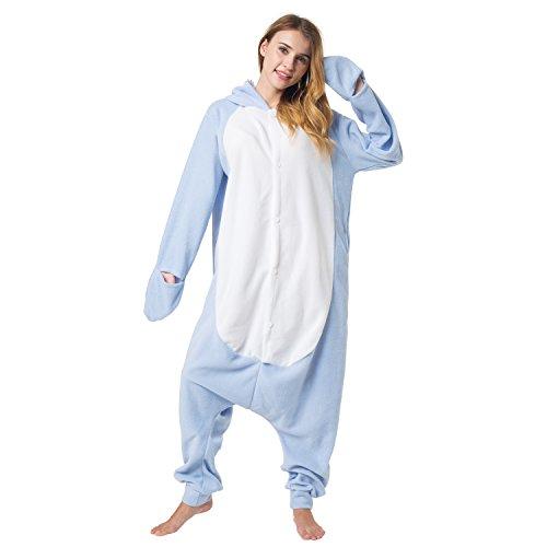 Katara 1744 -Hai Kostüm-Anzug Onesie/Jumpsuit Einteiler Body für Erwachsene Damen Herren als Pyjama oder Schlafanzug Unisex - viele verschiedene Tiere (Halloween-kostüme Einfache Hause Zu Von Und Schnelle)
