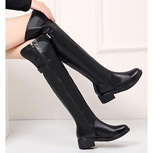 HSXZ Scarpe donna vacchetta molla rientrano la comodità di moda Stivali Stivali Chunky tallone sopra il ginocchio stivali per Nero Casual Black