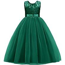 1247a6d91 IWEMEK Princesa Vestido de niña de Flores para la Boda Vestidos de Dama De  Honor Sin