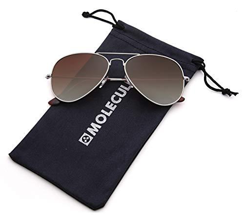 MOLECULE UV400 Polarisierte Sonnenbrille für Damen & Herren Pilotenbrille Fliegerbrille aus Edelstahl + Mikrofaser Etui (Braun verlaufend (Rahmen: Silber))