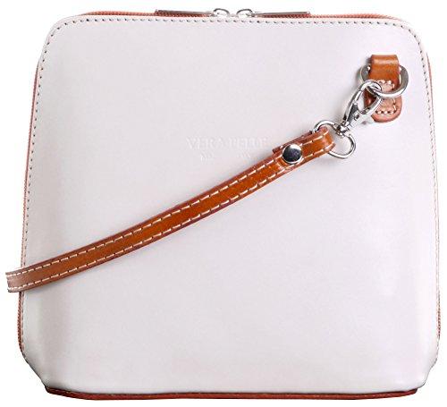 Primo Sacchi Italienisches Leder handgefertigten Creme und Tan klein/Micro Cross Body Bag oder Umhängetasche Handtasche.Beinhaltet eine schützenden Aufbewahrungstasche gebrandmarkt. -