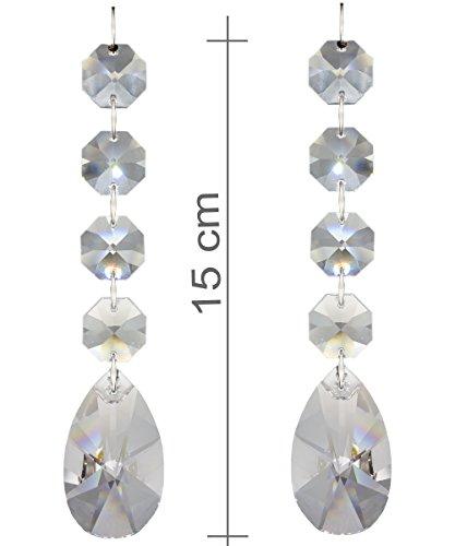 Chrom, Bleikristall (2x Kristall Baumschmuck Ketten 150mm lang, als Christbaumschmuck oder Deko für den Weihnachtsbaum und Tannengrün, Regenbogenkristalle als Fensterschmuck mit 30% Bleikristall Hoch Brillant - Typ E)