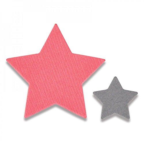 Sizzix 661782 Framelits Stanzen Set 2 Stück - Kleine Sterne, stahl, schwarz, 12.09 x 6.8 x 0.2 cm (Stück Set Wallet 2)
