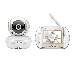"Motorola MBP30A Video Baby Monitor with 3"" Handheld Parent Unit and Remote Pan Scan   15"