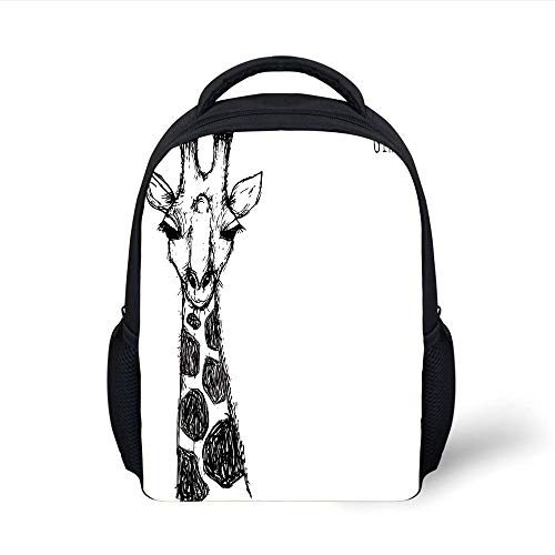 Kids School Backpack Black and White,Cute Graphic of Safari Giraffe Tall Neck Spots West African Wild Character,Grey White Plain Bookbag Travel Daypack