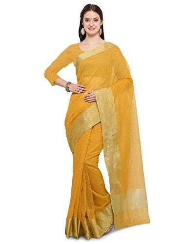 SAREE MALL Women's Linen Silk Saree With Blouse Piece(Yellow ,Free Size)