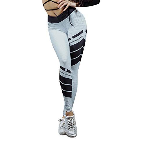 Dorical Damen Hohe Taille Brief Print Leggings Sport Gymnastik Yoga Workout Fitness Sportlich Hosen Spielraum