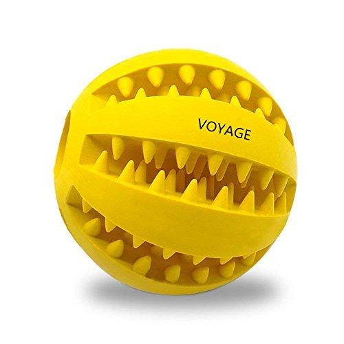 Hundespielzeug Ball von Voyage aus Naturkautschuk | Spielzeug für Hunde | Robuster Natur-Gummi Hundeball für Leckerli | Langlebiger Hundespielball | Auch für Welpen | Kauspielzeug | Spielzeug für Große & Kleine Hunde | Voll-Gummi Hunde-Frisbee, ø 7cm mit Dental-Zahnpflege-Funktion mit Noppen und Loch für Leckerli. (Gelb)