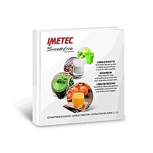 Imetec Succovivo Compact 700 Estrattore di Succo a Freddo per Frutta e Verdura, Slow Juicer Compatto con Filtro Succhi, Spremitura Lenta, Velocità Regolabile, con Ricettario - 2020 -