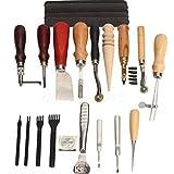 Malayas 18 pcs Leder Fertigkeit Handwerk Werkzeug Set Schneiden Nähen Schnitzen Stanzen Lochen Werkzeug DIY Leather Craft Punch Tools Set