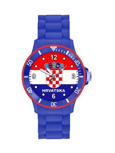 Fanartikel Silikon Armbanduhr Watch Fan Uhr m WM & EM Länder Flaggen Style (Kroatien)