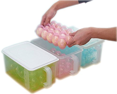 Kretix Plastic Egg Box Kitchen Refrigerator 30 Grid Egg Container Storage Box/Holder/Case Food Crisper Organizer - Color May Very
