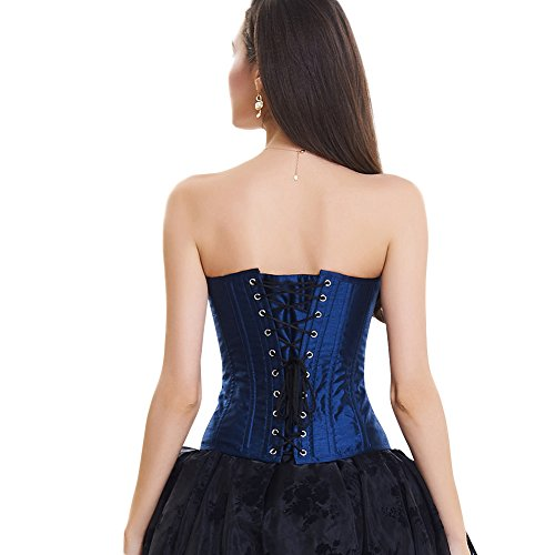7ff3a1bea570 LoverBeauty Damen Top Korsage Lace Up Corsage Blau Gold -shk-siret.eu