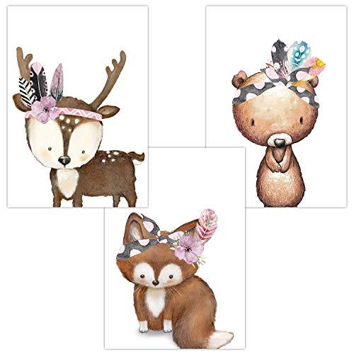 Wandbilder 3er Set für Babyzimmer Deko Poster   Kunstdruck DIN A4   Dekoration Kinderzimmer Waldtiere (Fuchs Bär Hirsch Baby Tiere Boho)