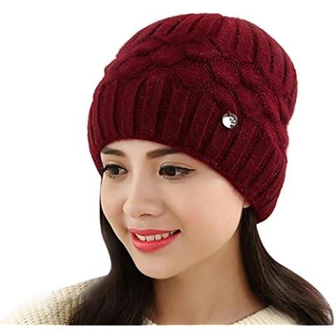 Tongshi Las mujeres caliente del invierno de la boina del casquillo trenzado holgado de punto de ganchillo Beanie Hat Cap de esquí (rojo)