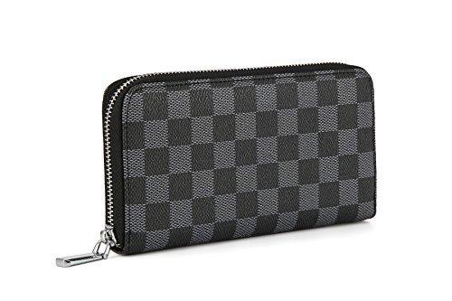 Daisy Rose Frauen'S Checkered Zip Around Wallet und Telefon Clutch - Rfid Blockierung mit Kartenhalter-Organisator -Pu Vegan Leder, groß Schwarz - Zip Around Organizer