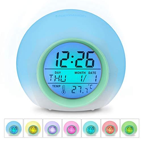 Despertadores, [Regalos] HAMSWAN Reloi Alarma, Clock, Despertadores Cambiado Entre 7 colores con 8 Tonos, Temperatura para Padres Estudios y Niños ect.