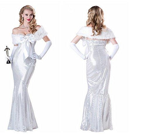 DLucc Grammy Schauspielerin Kleidung Silber Flash-Chip Meerjungfrau Form Abendkleid Dinner Anzug Europäische und amerikanische Sterne schießen (Kostüme Chip Pyjama)