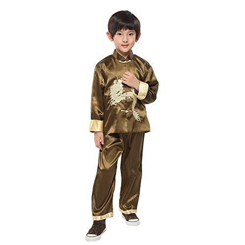 DAZISEN Jungen Tang Anzug - Kinder Martial Arts Anzüge Kung Fu Tai Chi Kleidung Performance Kostüm, Grün, Tag 2
