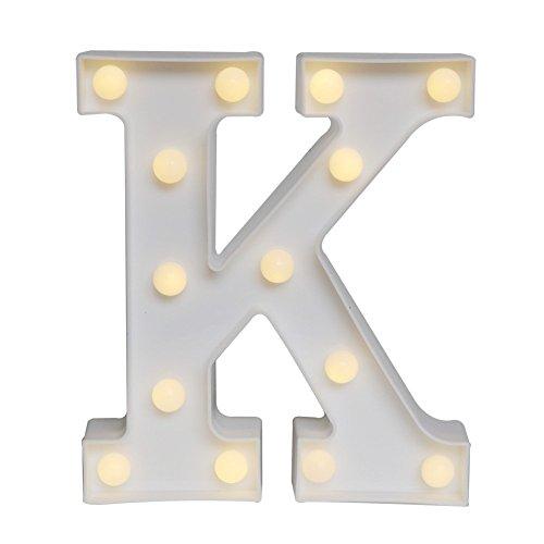 staben Licht am Symbol Akku Festzelt Buchstabe Lights Alphabet Light Up Zeichen für Hochzeit Home Party Bar Dekoration & # xff08; weiß K & # xff09; (Hochzeits-empfangs-zeichen)