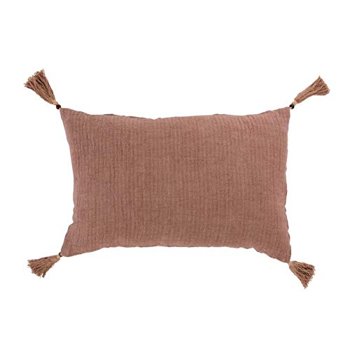 Coussin rectangle à pompon frange en lin-velours rose merengue 60x40 - African Style - Hacienda -...