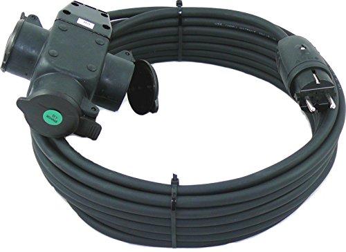 Schuko-Verlängerungskabel mit 3-Fach Kupplung H07RN-F 3x1,5 mm² (IP44 - Außenbereich) AC 230V / 16A 5-50m (15m)