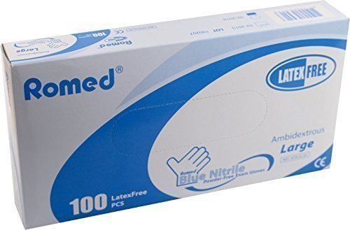 Galleria fotografica 100 Disposable Gloves - Powder-Free Nitrile - By Romed - Ref: NT800-20 - Hypoallergenic - Medium 7-8 by Romed