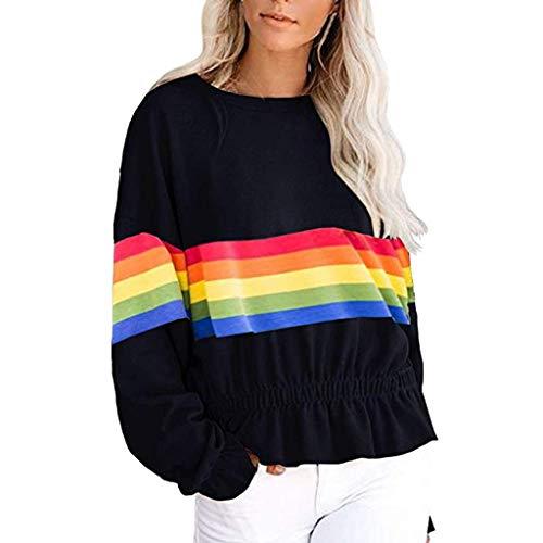 ZHANSANFM Damen Sweatshirt Rainbow Kontrastfarbe Pullover Langarm Ruffled Sweater Frauen Rundhals Weiche Langarmshirt Herbst Locker Sport Freizeit Oberteil Top Mode Elegant (XL, - Verkleidung Rainbow Kostüm