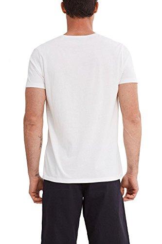 ESPRIT Herren T-Shirt 047ee2k020-Print Weiß (White 2 101)