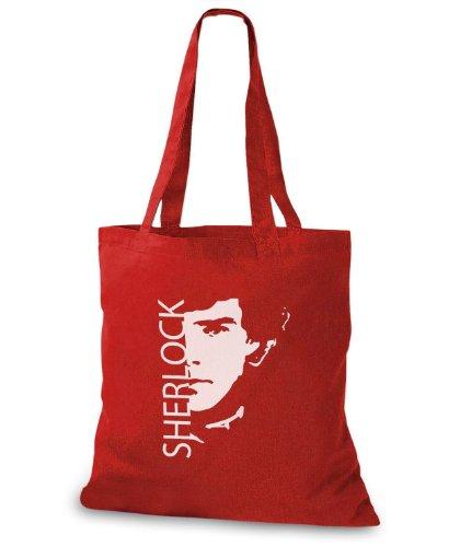 StyloBags Jutebeutel / Tasche Sherlock Rot