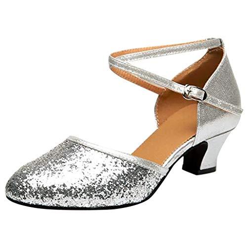 Dorical Damen Latein Salsa Tanzschuhe Funkeln Geschlossener Zeh Pumps Ballsaal Schuhe/Standard Latin Dance für Mädchen (Bitte bestellen Sie eine Nummer grösser) 35-41 EU(Silber,41 EU)