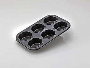 Alda Non Stick Carbon Steel Muffin Tray, 6cm, Black