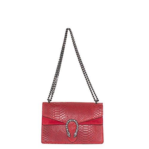 MASSIMA BARONI- Bolso de mujer de Piel de auténtica. Modelo Portofino. Se lleva al hombro o cruzado. Shoulder bag de diseño exclusivo, elegante y funcional. Medidas: 28x8x18cm. Temporada 2018 (Rojo)