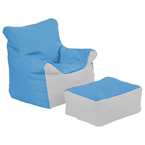 ECR4Kids ELR-12803-FBLG Bean Bag Chair and Ottoman Set, and Light Grey, French Blue (Pack of 2)