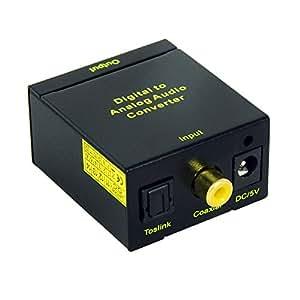 Kanaan Convertisseur Audio Numérique SPDIF Toslink ou Electrique Coax Vers Analogique RCA avec prise jack 3,5 mm pour casque (AUX)